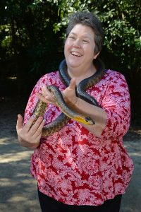 Narrelle with a snake at Australia Zoo
